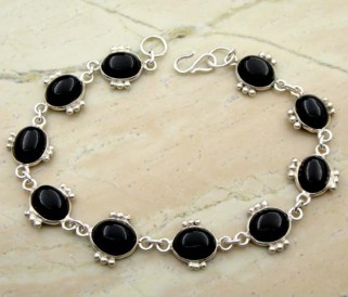 Genuine Black Onyx & Solid .925 Sterling Silver Bracelet