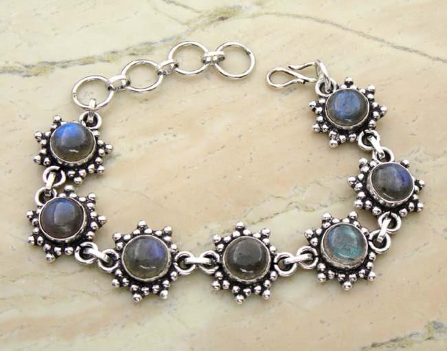 Genuine Labradorite sterling silver handmade bracelets