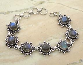 Genuine Labradorite & Solid .925 Sterling Silver Bracelet