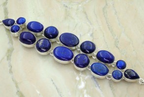 Genuine Lapis & Solid .925 Sterling Silver Bracelet