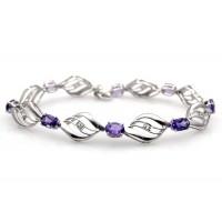 Genuine Amethyst Sterling Silver Bracelets