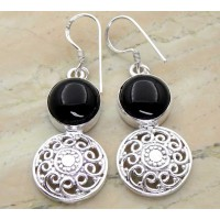 12.50ctw Genuine Black Onyx & Solid .925 Sterling Silver Dangle Earrings (SJHE0024BO-SS)