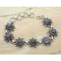 17.50ctw Genuine Labradorite & Solid .925 Sterling Silver Bracelet (SJHB0010LAB-SS)