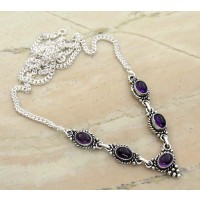 5.50ctw Genuine Amethyst & Solid .925 Sterling Silver Necklace (SJHN0028ACAB-SS)