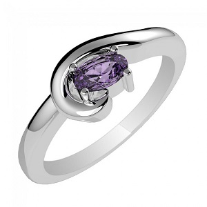Genuine Amethyst & 925 Sterling Silver Gemstone Ring