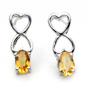 Genuine Citrine & 925 Sterling Silver Stud Earrings