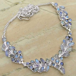 Genuine Rainbow Moonstone 925 Sterling Silver Necklace