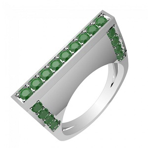 0.85ctw Genuine Emerald & Solid .925 Sterling Silver Gemstone Ring (SJR1027EMR)