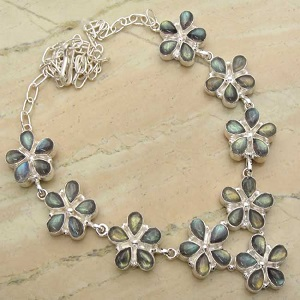 35.33ctw Genuine Labradorite & Solid .925 Sterling Silver Necklace (SJHN0058LAB-SS)